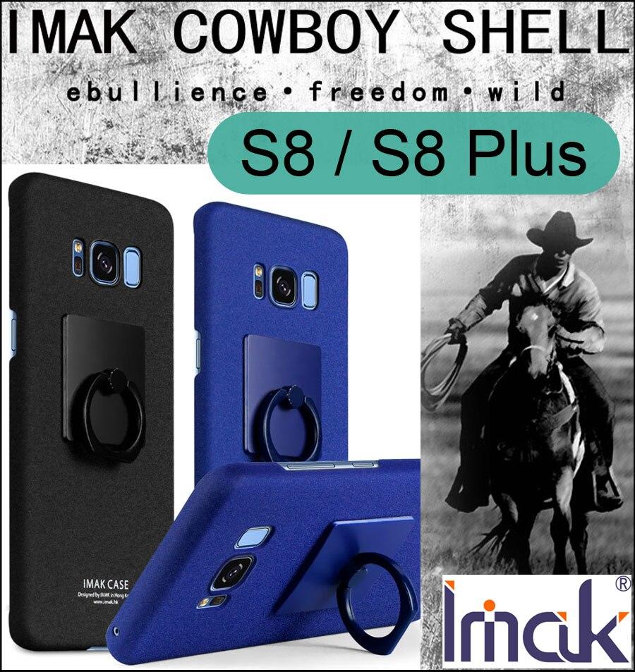 Imak cowboy sable givré case couverture pour samsung galaxy s8 plus mat anti-empreintes digitales coque doigt grip anneau titulaire + film