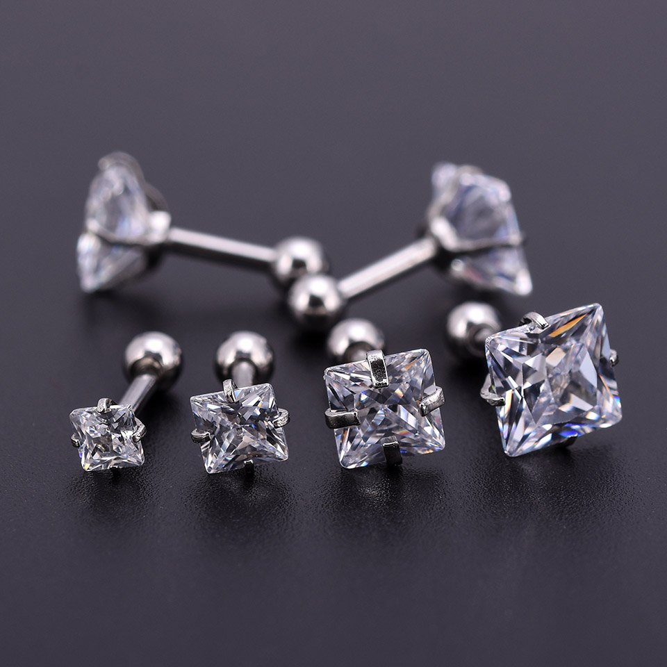 10Pcs Silver Zircon Crystal Round Ball Tongue Lip Bar Ring Stainless Steel Barbell Ear Stud Body Piercing Jewelry