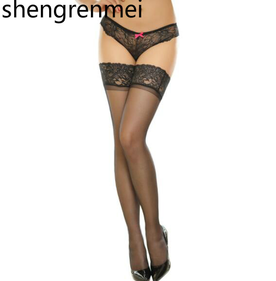 Shengrenmei 2019 New Sexy Women's Non-slip Elastic Silk Stocking Thigh High Ladies Long Stockings Top Lace Pattern Random