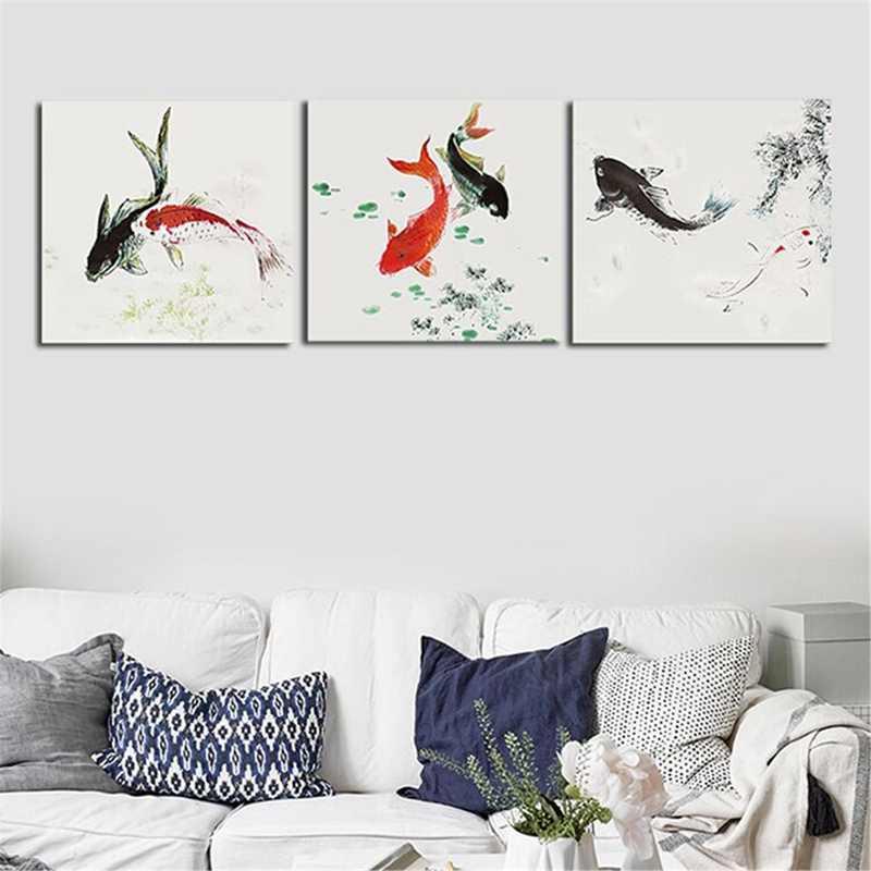 3 piezas carpas Koi peces animales lienzo pintura cuadros arte para la suerte fortuna casa Oficina habitación Hotel decoración arte regalo