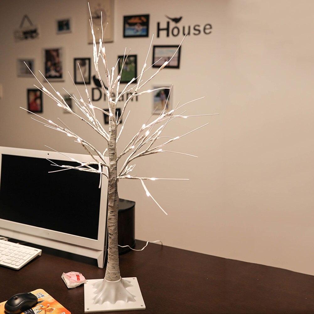 Pvc Decorative Night Light Artificial Birch Tree Home Lamp Warm White Branches Landscape Festival Wedding 45cm Party 24 Led