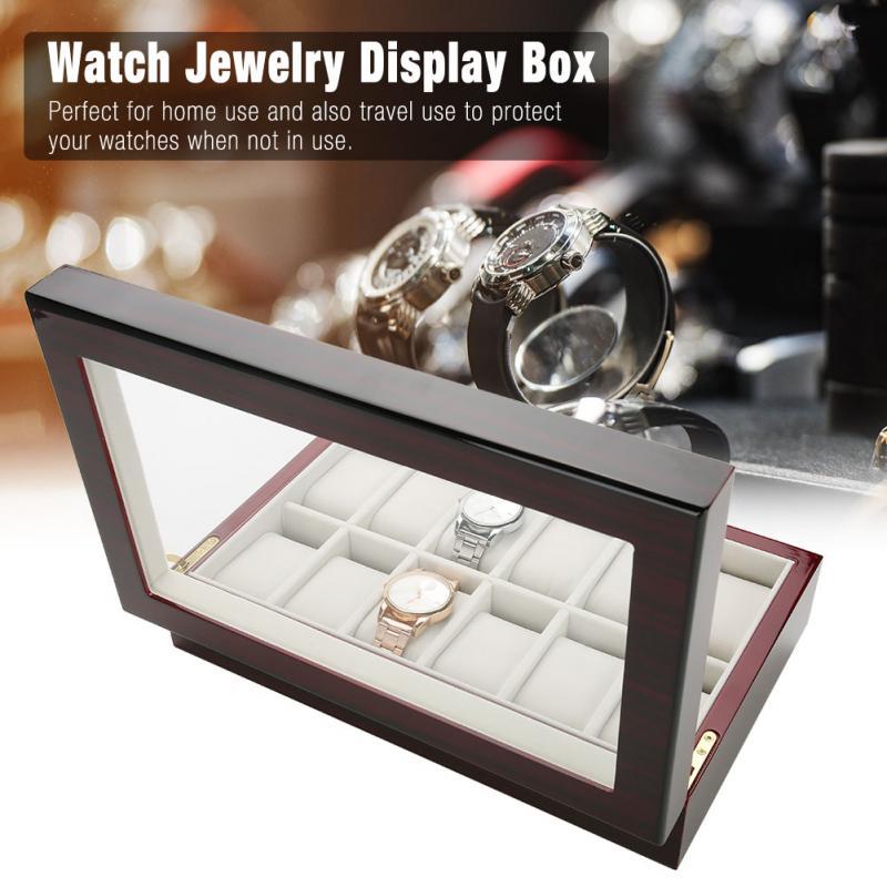 12 Grids Wooden Watch Display Case Storage Box Organizer Watch Eyeglasses Display Box display box