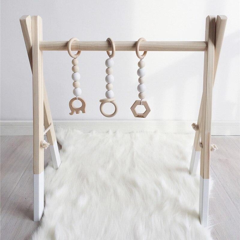 Nouveau bois bébé activité Gym jouer pépinière décor sensoriel jouet accessoires enfant chambre décor photographie accessoires infantile vêtements Rack