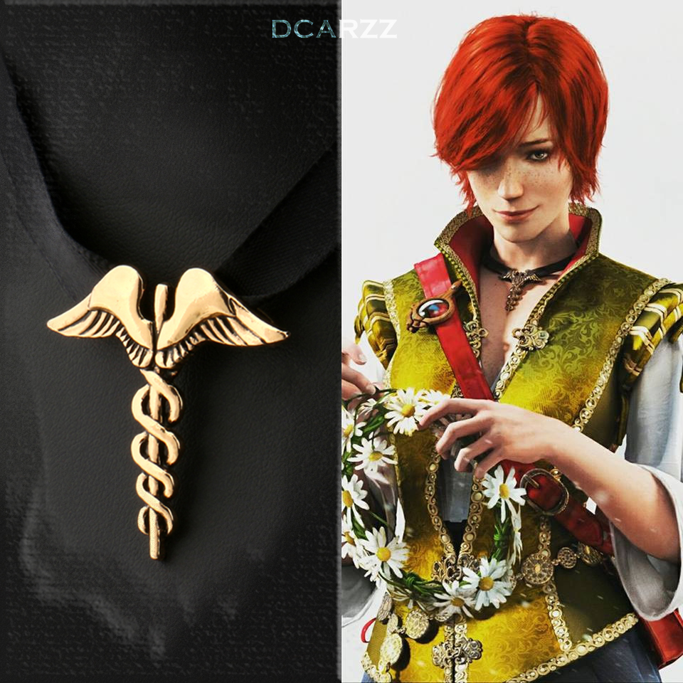 Witcher 3 Shani Medallion Ribbon Choker Necklace the Wild Hunt Game Cosplay Jewelry Antique Gold/Silver Pendant Drop Shipping broad paracord