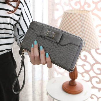 Bow-Decorated Cute Leather Women's Wristlet Bags and Wallets Hot Promotions New Arrivals Women's Wallets Color: dark grey