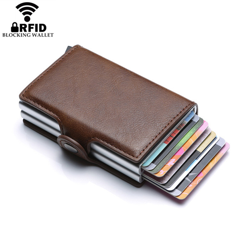 Europe Designer RFID Protection Mens Leather Credit Card Holder Double Aluminum Bank Protector Case ID Wallet For Man