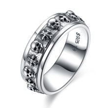 GOMAYA Fine Jewelry 100% Real Pure 925 Sterling Silver Vintage Rings Handsome Skull Ring Hot Sale for Women Men Lovers Gift vintage skeleton skull king 925 sterling silver men ring