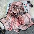 180X65 CM Natural de Seda de Lujo de la Marca Mujeres de Invierno de Lana Bufanda Echarpe Foulard Mantones del Copo de Nieve Impreso Bandana Bufandas Hijab S6