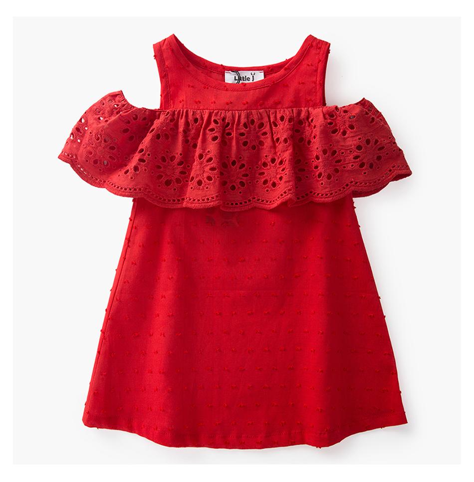 HTB1WtSRSpXXXXbXXVXXq6xXFXXXD - Little J 100% Cotton Girls Red Off Shoulder Dress Toddler Hollow Lace Dresses Cute Casual Children Summer Dress Kids Clothes