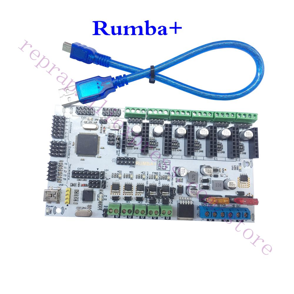 Only here, Rumba+ MotherBoard Upgrade Rumba Control Board for 3D Printer Triple Extruder Multi Color 3 In 1 Out Diamond Hotend free shipping factory directly selling extruder controller 2 2 control module board motherboard for 3d printer
