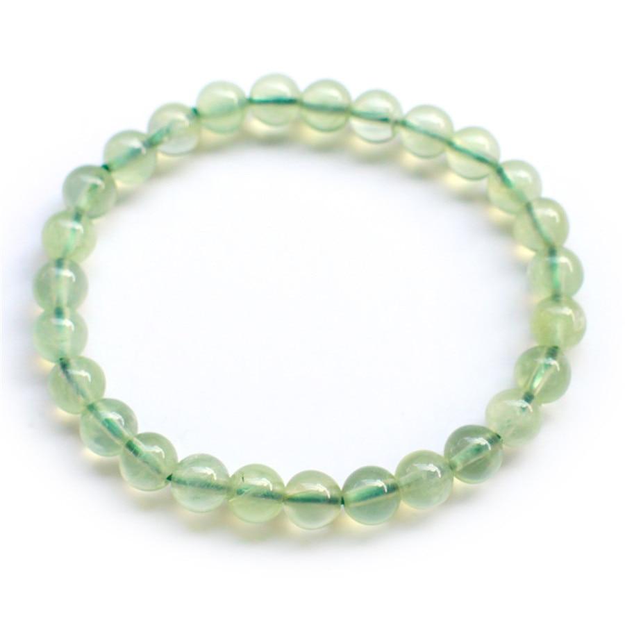 4df84ea22a3b Envío libre 7mm genuino natural verde Cristal de piedra cuarzo redondo  Cuentas joyas mujer señora estiramiento encanto pulsera
