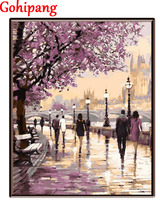 Latest Landscape Cherry Blossoms Road Diy Oil Painting By Numbers Wall Art Home Decor Acrylic Paint