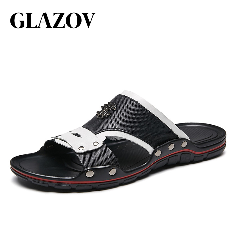 Casual Men Sandals Summer Tide Mens Slippers Rivet British Man Beach Sandals Genuine Leather Lazy Pedal Flip Flop Size 38-47