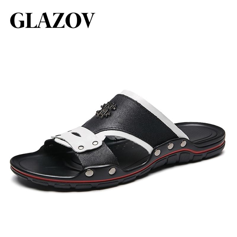 Casual Men Sandals Summer Tide Mens Slippers Rivet British Man Beach Sandals Genuine Leather Lazy Pedal Flip Flop Size 38-47