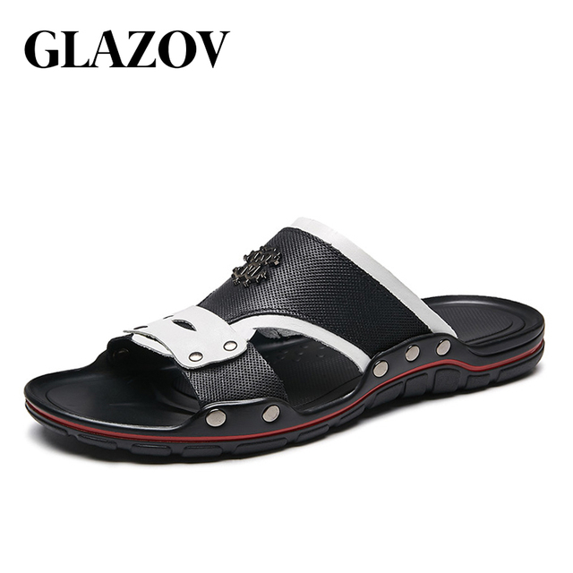 62004423eb4 Casual Men Sandals Summer Tide Mens Slippers Rivet British Man Beach  Sandals Genuine Leather Lazy Pedal Flip Flop Size 38-47