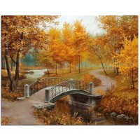 new full Diy diamond painting kit 3D cross stitch round Diamond embroidery Autumn Scenic Bridge Diamond Mosaic Crafts gift