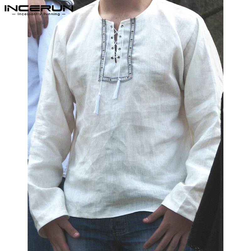 Top Sale 2020 Spring Autumn Chinese Vintage Mens Cotton Shirts Long Sleeve Casual Loose Men Tops