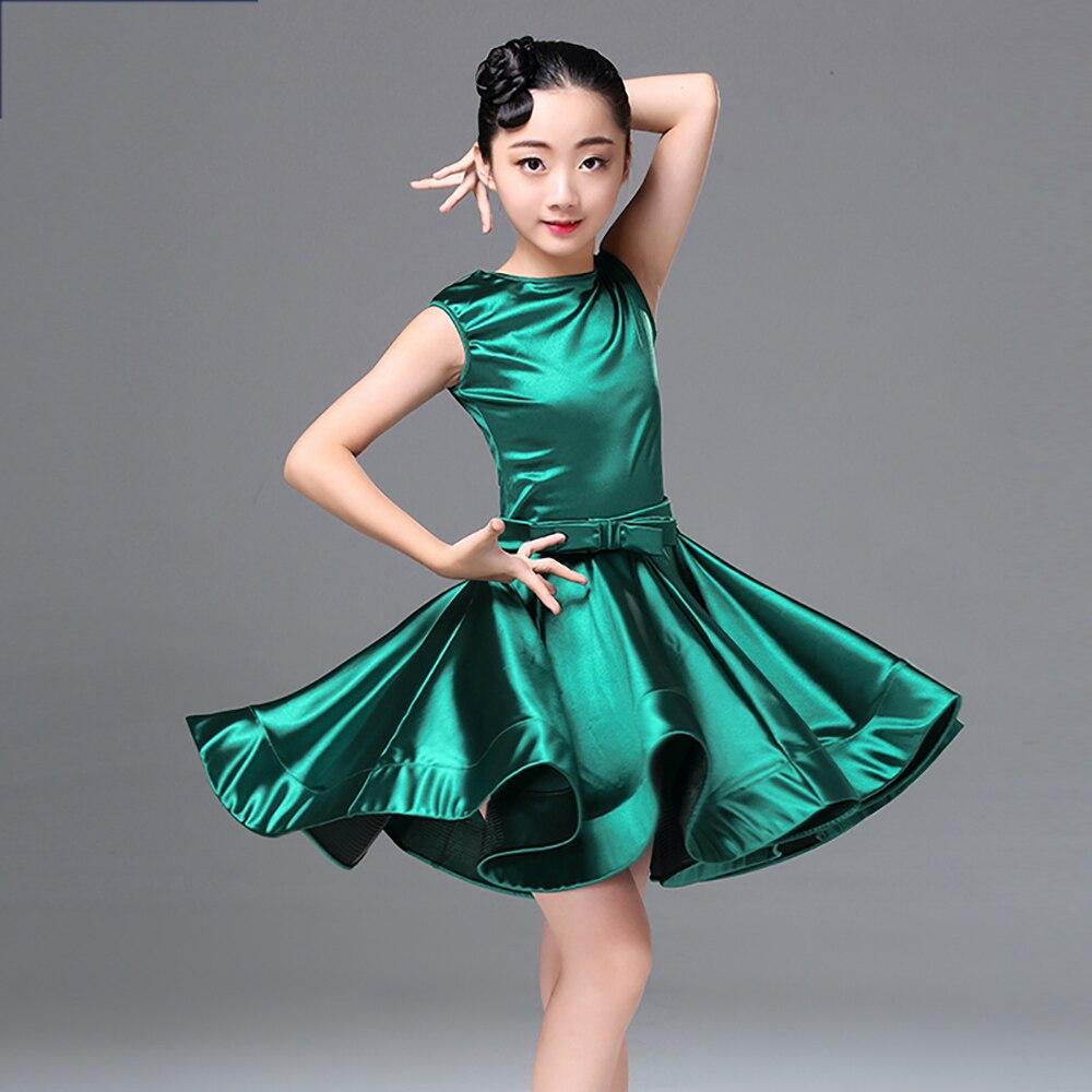 2018 Sexy Latin Dance Dress For Girl Multi Color Original Schoolgirl Competitive Skirt Children Ballroom Kid Samba Costume N5001