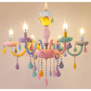 Image 4 - Цветная хрустальная люстра в виде макарона, цветной светильник для детской спальни, креативный Фэнтезийный витражный светильник