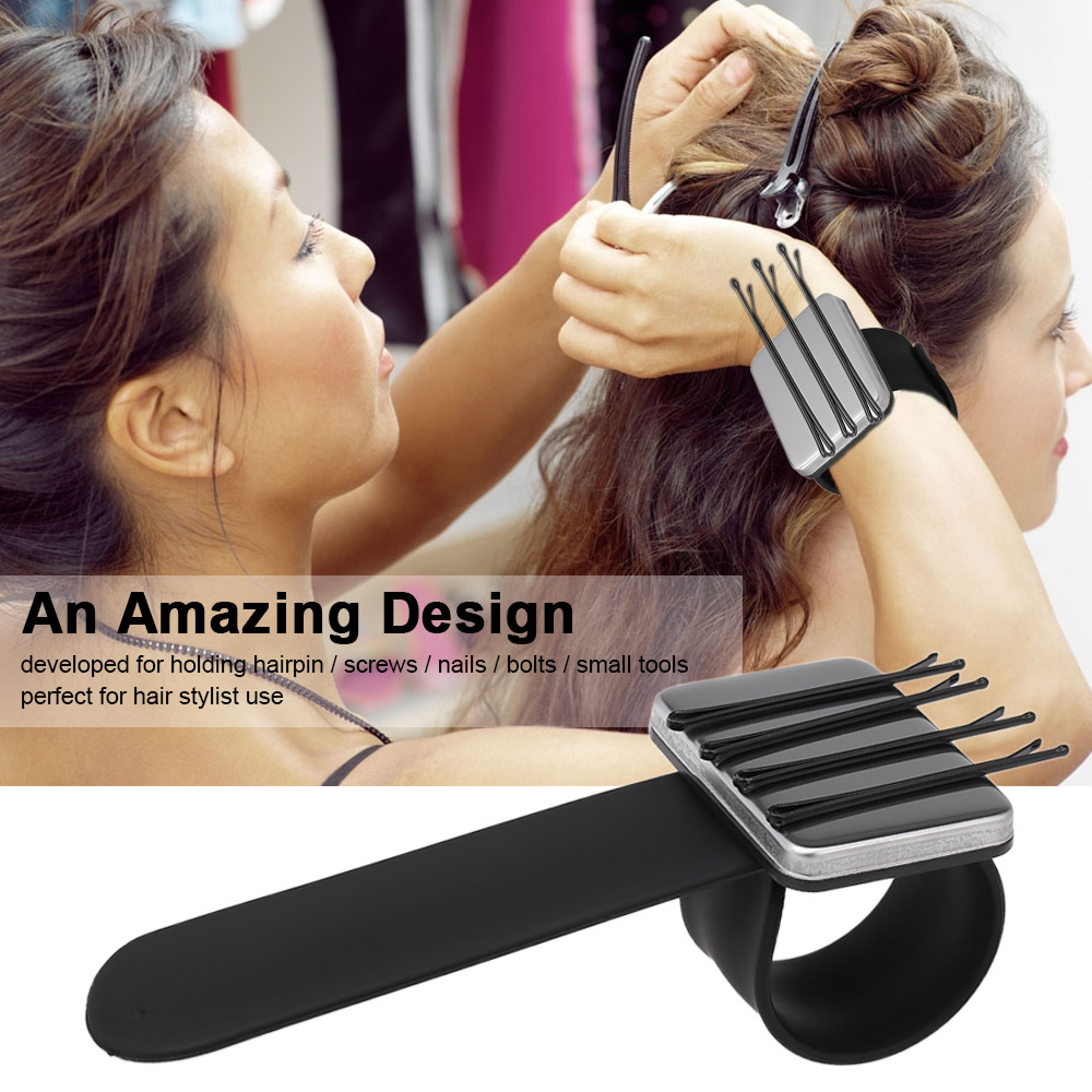 1pc Magnetic Bobbie Pin Hair Clips Wrist Strap Bobby Pins Wristband Holder Hairstyling Tools Accessories For Salon Use