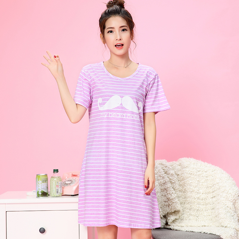 New Cotton Nightgowns For Women Striped Short Sleeve Home Dress Cute ...
