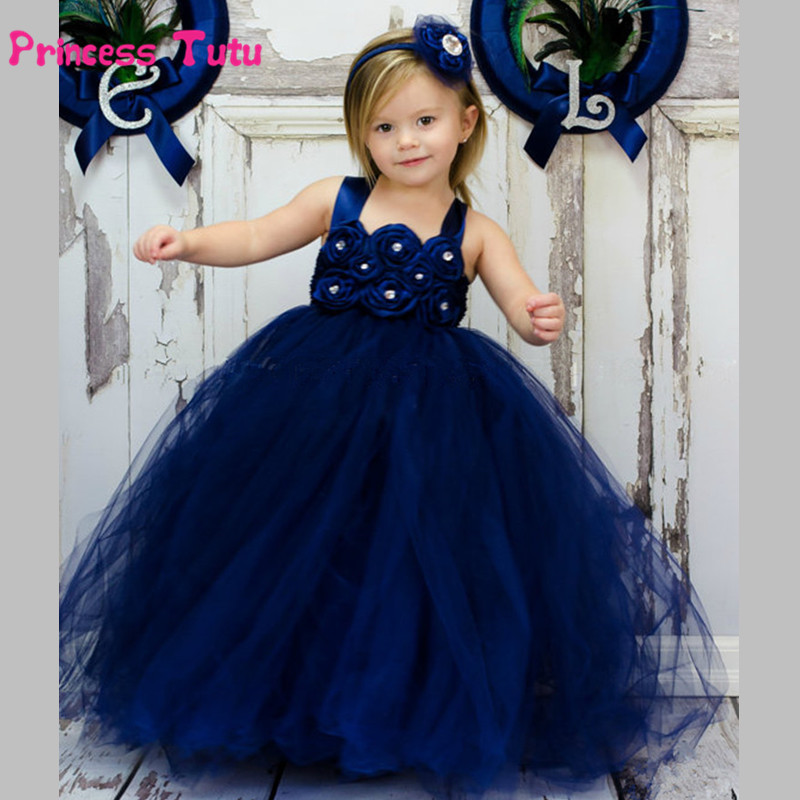 Navy Blue Girls Tutu Dress Princess Baby Girls Wedding Bridesmaid Flower Girl Dresses Kids Graduation Party Birthday Tulle Dress light blue elsa dress girls princess dress kids wedding birthday party tutu dress tulle baby girl halloween cosplay elsa costume