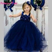 Navy Blue Girls Tutu Dress Princess Baby Girls Wedding Bridesmaid Flower Girl Dresses Kids Graduation Party Birthday Tulle Dress