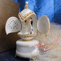 Творческий роскошные подарочной коробке дверь Королевский яичная скорлупа Вырезка Music Box Свадебный Дизайн Musicbox музыкальная шкатулка движе...