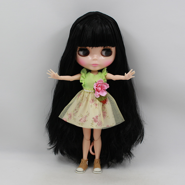 Free shipping Nude Blyth doll  joint body dolls dark brown hair with bangs baby dolls for girls free shipping nude blyth doll brown wavy wig doll toys for girls