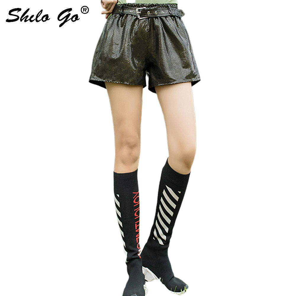 Streetwear Leather Shorts Women Casual Snake Belt High Waist Sheepskin Genuine Leather Wide Leg Shorts Loose Female Hot Shorts