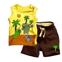 Babys Boy Coconut Tree Pattern Sleeveless Tops Pants Set Outfits 2 pcs