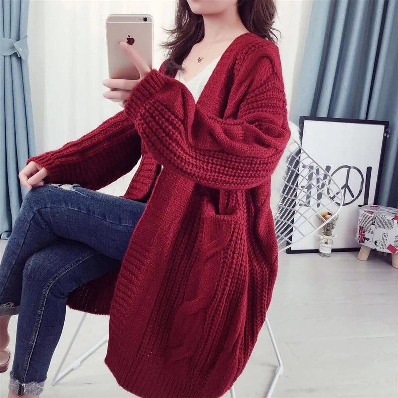 Top Solides Cardigan bleu Chandail Dames Plus 2018 Ouvrir Long Printemps Femmes rouge or Chemises Taille Tricoté La Manches Bureau Automne Point Élégant Longues Noir 11wzHEq