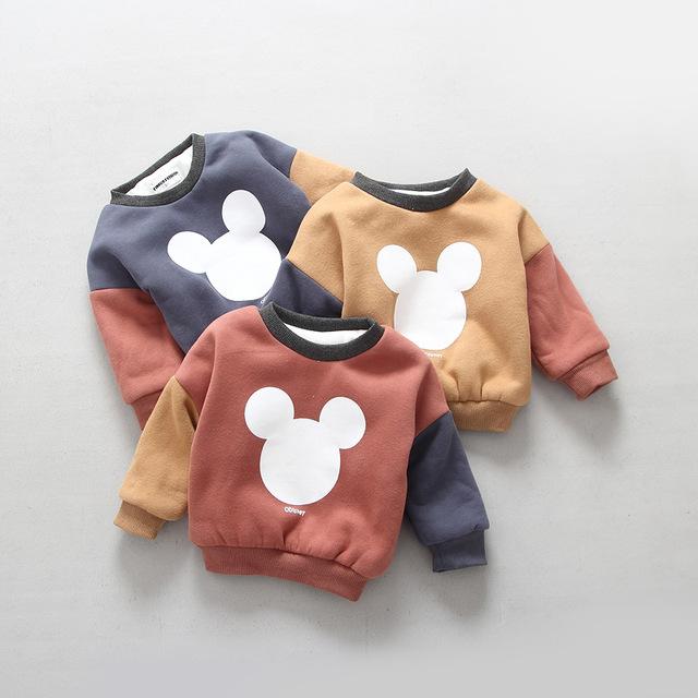 2016 inverno nova chegada do sexo masculino bebê criança do sexo feminino espessamento da camada dobro além de veludo desenhos animados impressão pullover top camisola