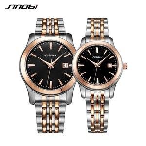 SINOBI Lovers Watch Men and Women Busines Watches Top Brand Luxury Famous Quartz Wrist Hodinky Couple Clock Relogio Masculino