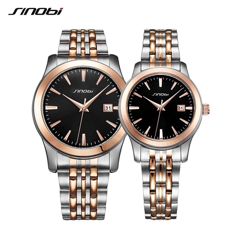 SINOBI Lovers Watch hombres y mujeres Busines relojes marca superior de lujo famosa muñeca de cuarzo