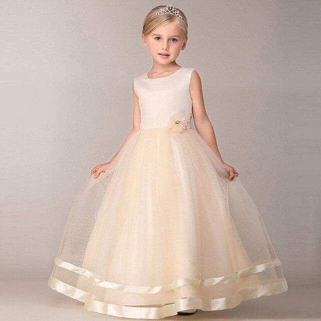 Maxi verano niños vestidos de novia para niñas diseños de noche larga fiesta dama de honor traje Formal Fille Little Children ropa 2018