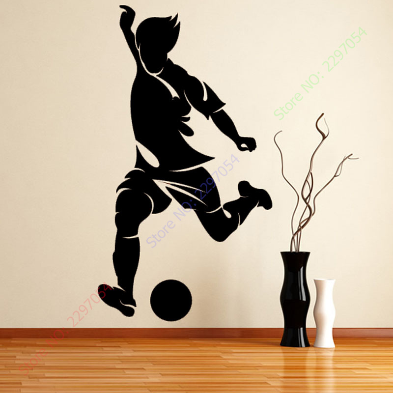 Free shipping New Left Foot Striker Football Wall Paper Living Room Decorative Sport Pla ...
