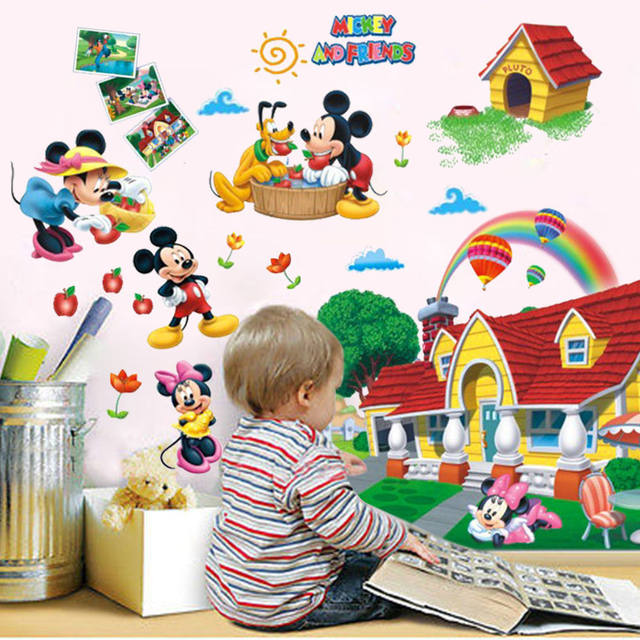 2017 Hot Sale Cartoon Kids Colorful Mickey Mouse Clubhouse Wall Sticker  Mural Decal Kids Baby Room Decor ASD
