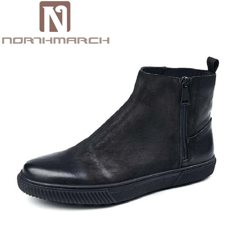 NORTHMARCH Chelsea Boots Men Shoes Ankle Boots Men Cow Leather Boots For Men Spring Autumn High Quality Comfortable Shoes Bota