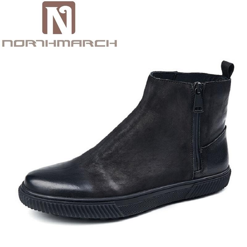 Northmarch Schwarzes Frühling Stiefeletten Bota Hochwertige Bequeme Herbst Leder Chelsea Schuhe Für Männer Kuh Stiefel q1Tqr