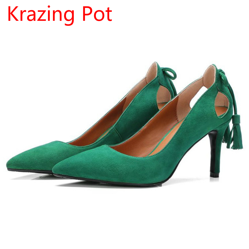 2017 Fashion Genuine Leather Solid Pointed Toe Shallow Slip on High Heels Office Lady Women Pumps Cozy Tassel Wedding Shoes L18 2017 shoes women med heels tassel slip on women pumps solid round toe high quality loafers preppy style lady casual shoes 17