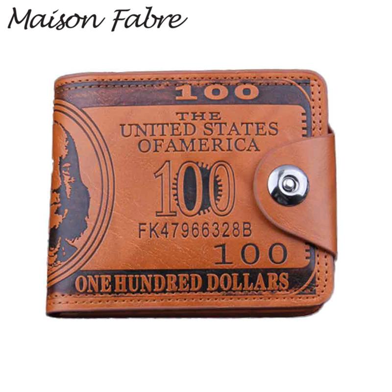 Maison Fabre 2019 New men wallet leather letter vintage Card Holder Bifold Slim clutch purse Credit card men money wallet pocket