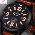 Marca naviforce reloj analógico de cuarzo reloj de los hombres relojes deportivos de cuero de moda hombre militar del ejército reloj de pulsera relogio masculino