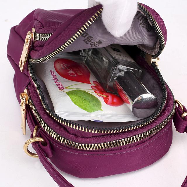Women's Multicolor Nylon Zipper Shoulder Bag