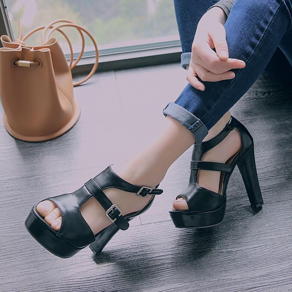 ФОТО Stylish Women Sandals Nice Buckle Platform Peep Toe Spike Heels Sandals Black White Brown Shoes Woman US Size 4-10.5
