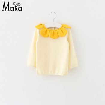 MAKA KIDS Sweet Toddler Baby Girl Tshirts Knitted Cotton Tops Ruffles Collar Cute Baby Girl Long Sleeve T shirt Infant Clothings