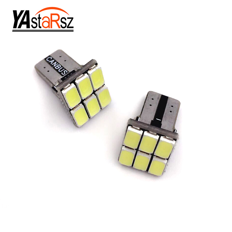 2X Car Headlights Error Free T10 W5W Canbus 6 Led w5w T15 W16W light Auto parking Fog light Indicator Lamp Door Bulb Xenon White car led 1pcs t10 194 w5w dc 12v canbus 6smd 5050 silicone shell led lights bulb no error led parking fog light auto car styling
