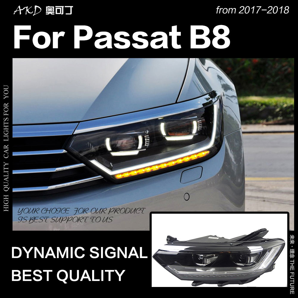 AKD Car Styling for VW Passat B8 LED Headlight 2017 2018 Magotan Headlight DRL Hid Head