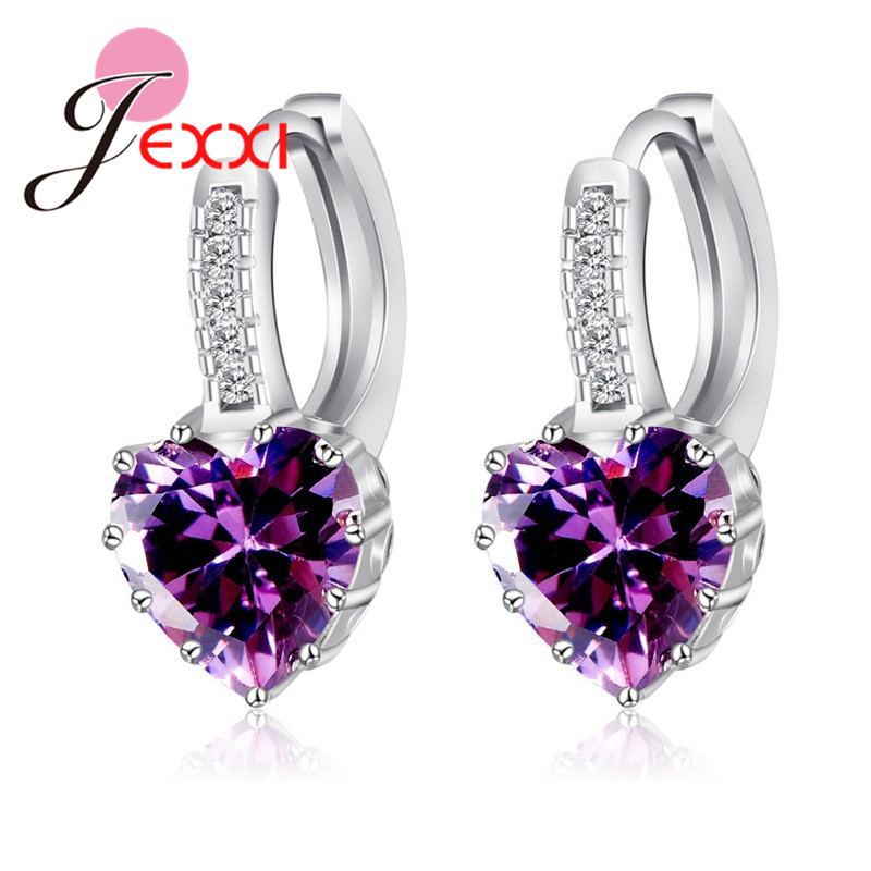 Real Pure 925 Sterling Silver Luxury Colorful Heart Band Jewelry Cubic Zirconia Stone Earrings Fashion For Women Girls 5
