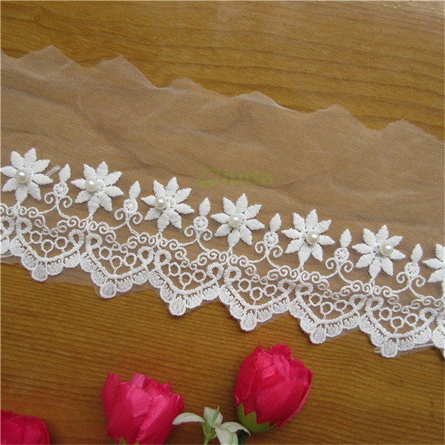 1 Yard 10cm White Cotton Net Pearl Lace Edge Trim Ribbon Fabric Embroidered  Applique Sewing Craft Crochet Wedding Dress Clothes df148cfcb8fe